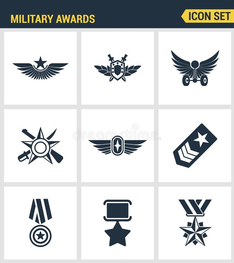 Εικονίδια καθορισμένα την εξαιρετική ποιότητα το στρατιωτικό victorysymbol βραβείων νικητών μεταλλίων αστεριών βραβείων Σύγχρονο  ελεύθερη απεικόνιση δικαιώματος