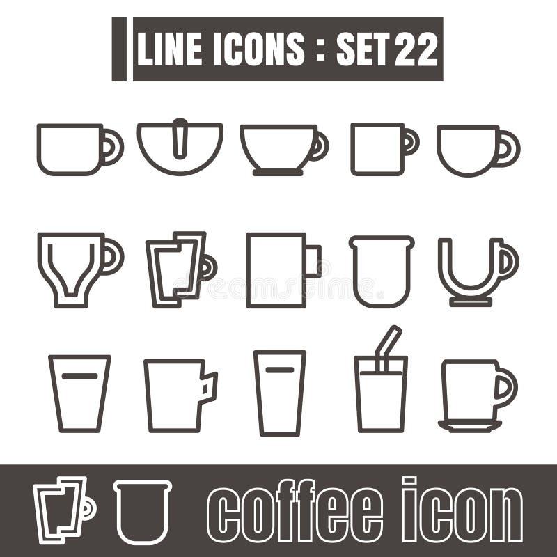 Εικονίδια καθορισμένα τη γραμμή φλυτζανιών καφέ τα μαύρα σύγχρονα στοιχεία σχεδίου ύφους διανυσματική απεικόνιση