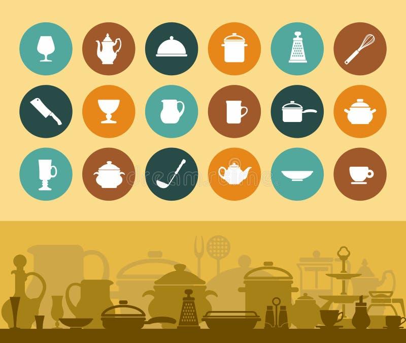 Εικονίδια και έμβλημα cookware και επιτραπέζιο σκεύος απεικόνιση αποθεμάτων