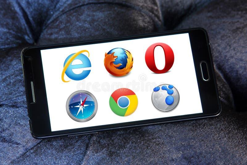 Εικονίδια και λογότυπα μηχανών αναζήτησης Ιστού στοκ εικόνα