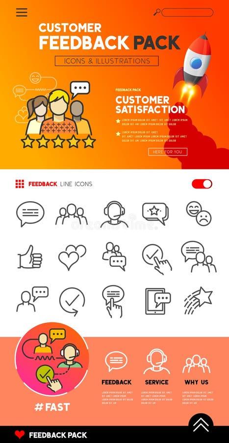 Εικονίδια και σχέδιο ανατροφοδότησης πελατών ελεύθερη απεικόνιση δικαιώματος