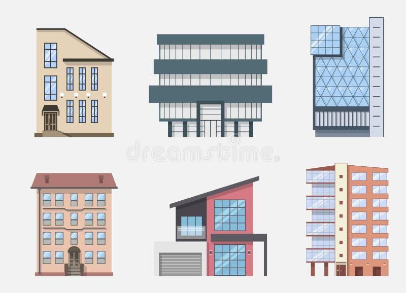 Εικονίδια και σύμβολα οικοδόμησης ακίνητων περιουσιών καθορισμένα, απομονωμένος επίσης corel σύρετε το διάνυσμα απεικόνισης ελεύθερη απεικόνιση δικαιώματος