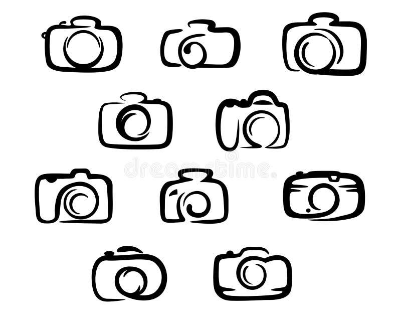 Εικονίδια καμερών καθορισμένα διανυσματική απεικόνιση