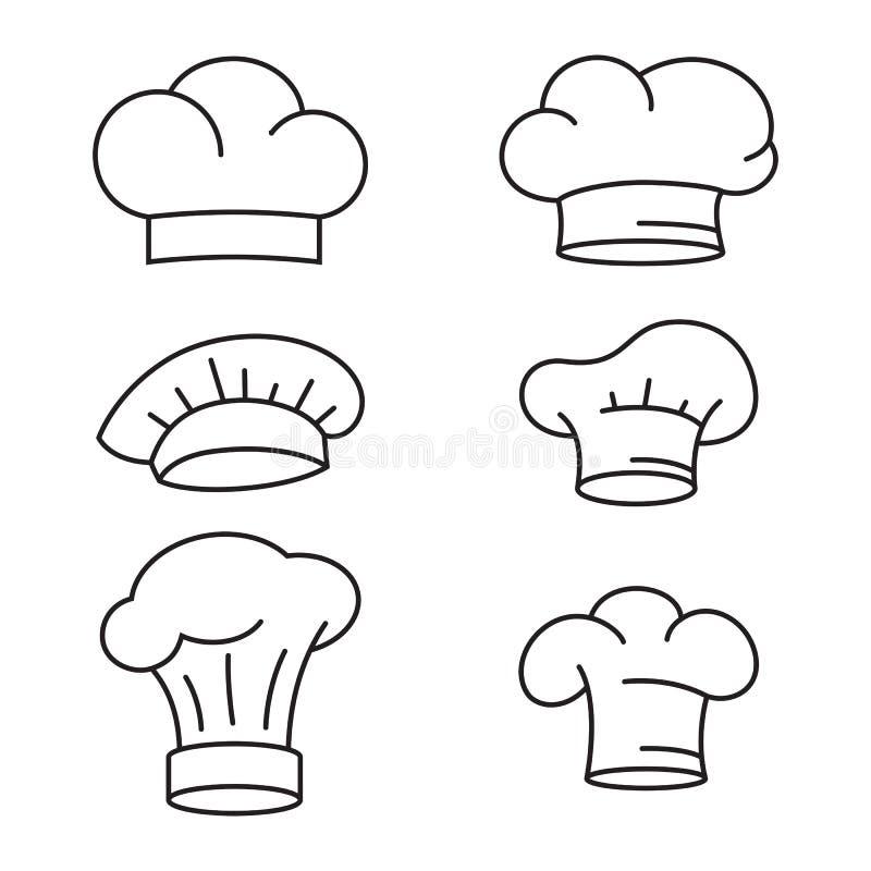 Εικονίδια καπέλων αρχιμαγείρων καθορισμένα διανυσματική απεικόνιση