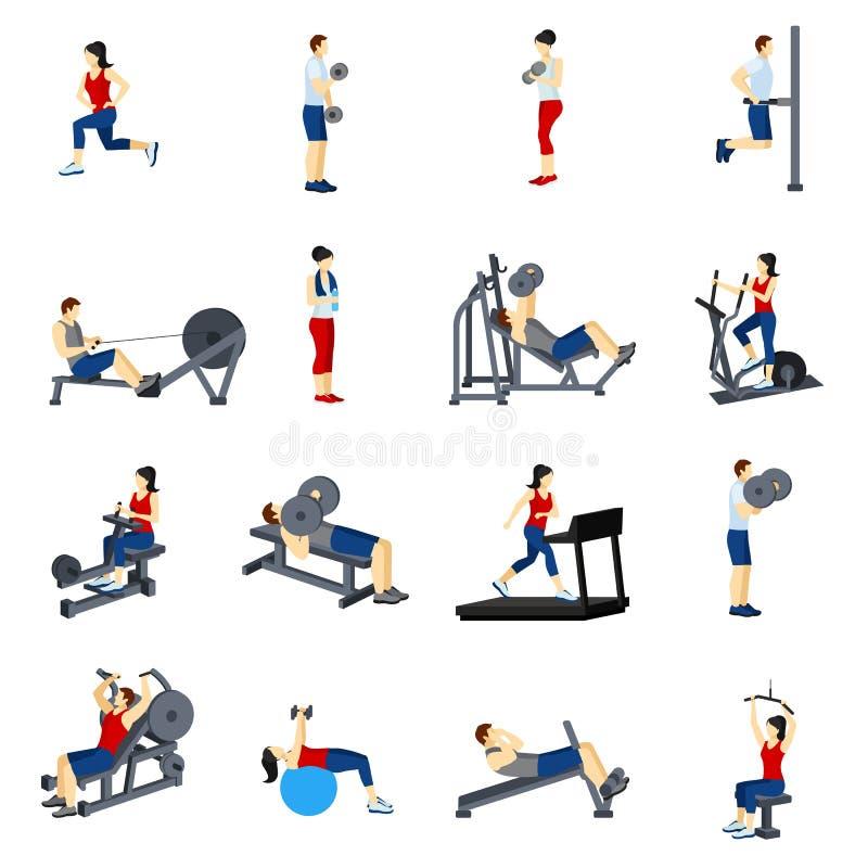 Εικονίδια κατάρτισης γυμναστικής ικανότητας καθορισμένα διανυσματική απεικόνιση
