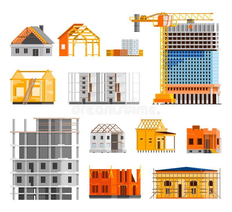 Εικονίδια κατασκευής καθορισμένα διανυσματική απεικόνιση
