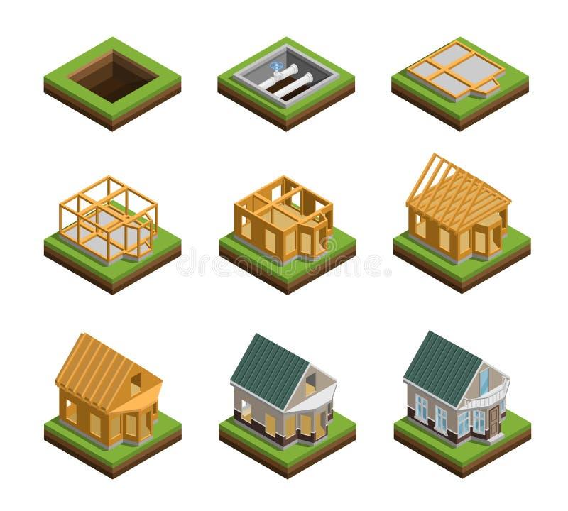 Εικονίδια κατασκευής σπιτιών καθορισμένα απεικόνιση αποθεμάτων