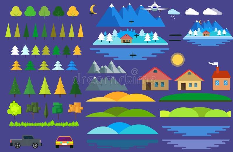 Εικονίδια κατασκευαστών τοπίων καθορισμένα σπίτια, δέντρα και σημάδια αρχιτεκτονικής για το χάρτη, παιχνίδι, σύσταση, βουνά, ποτα απεικόνιση αποθεμάτων