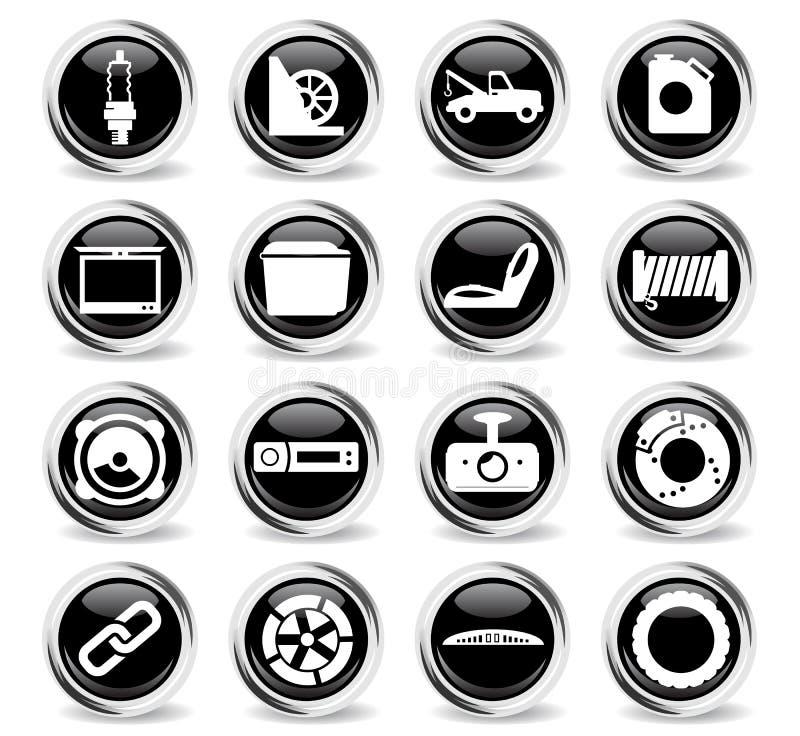 Εικονίδια καταστημάτων αυτοκινήτων καθορισμένα απεικόνιση αποθεμάτων