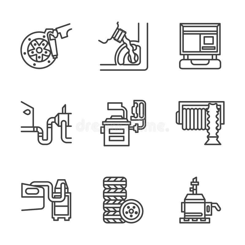 Εικονίδια κεντρικών επίπεδα γραμμών υπηρεσιών αυτοκινήτων απεικόνιση αποθεμάτων