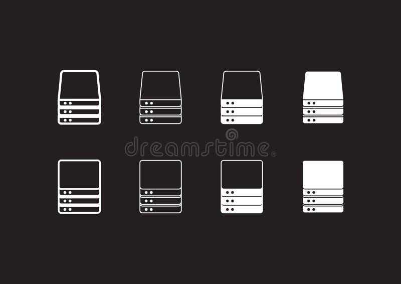 Εικονίδια κεντρικών υπολογιστών απεικόνιση αποθεμάτων