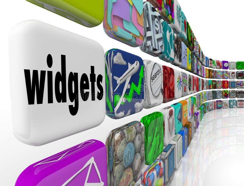 Εικονίδια κεραμιδιών προγραμμάτων λογισμικού Apps εφαρμογών Widgets απεικόνιση αποθεμάτων