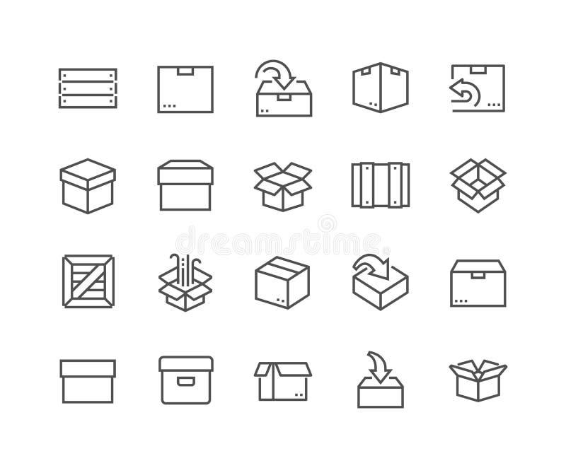 Εικονίδια κιβωτίων γραμμών διανυσματική απεικόνιση