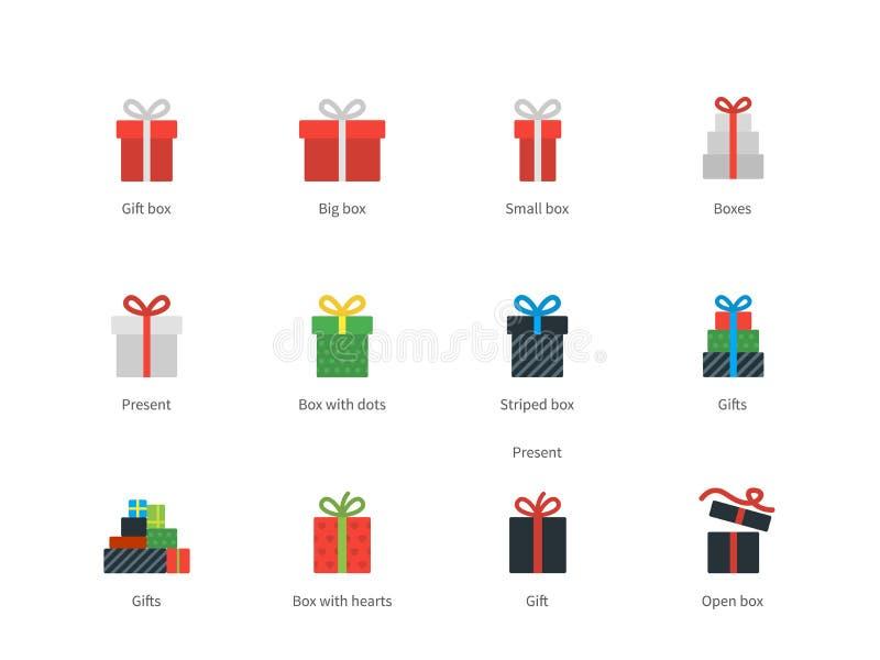 Εικονίδια κιβωτίων δώρων στο άσπρο υπόβαθρο απεικόνιση αποθεμάτων