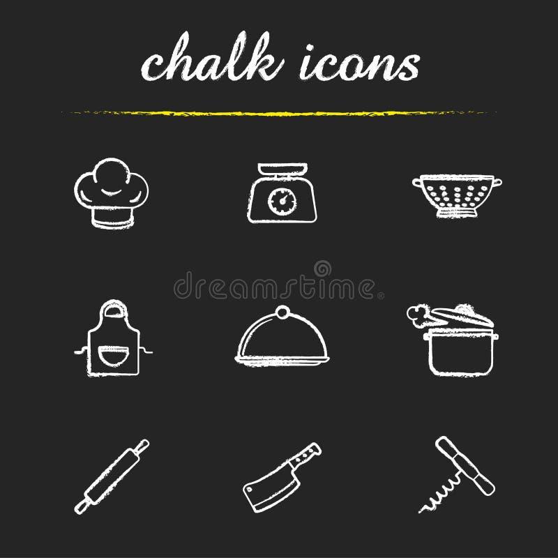 Εικονίδια κιμωλίας σκευών για την κουζίνα καθορισμένα ελεύθερη απεικόνιση δικαιώματος
