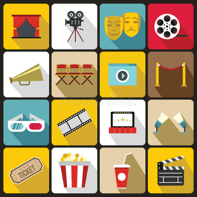 Εικονίδια κινηματογράφων καθορισμένα, επίπεδο ύφος διανυσματική απεικόνιση