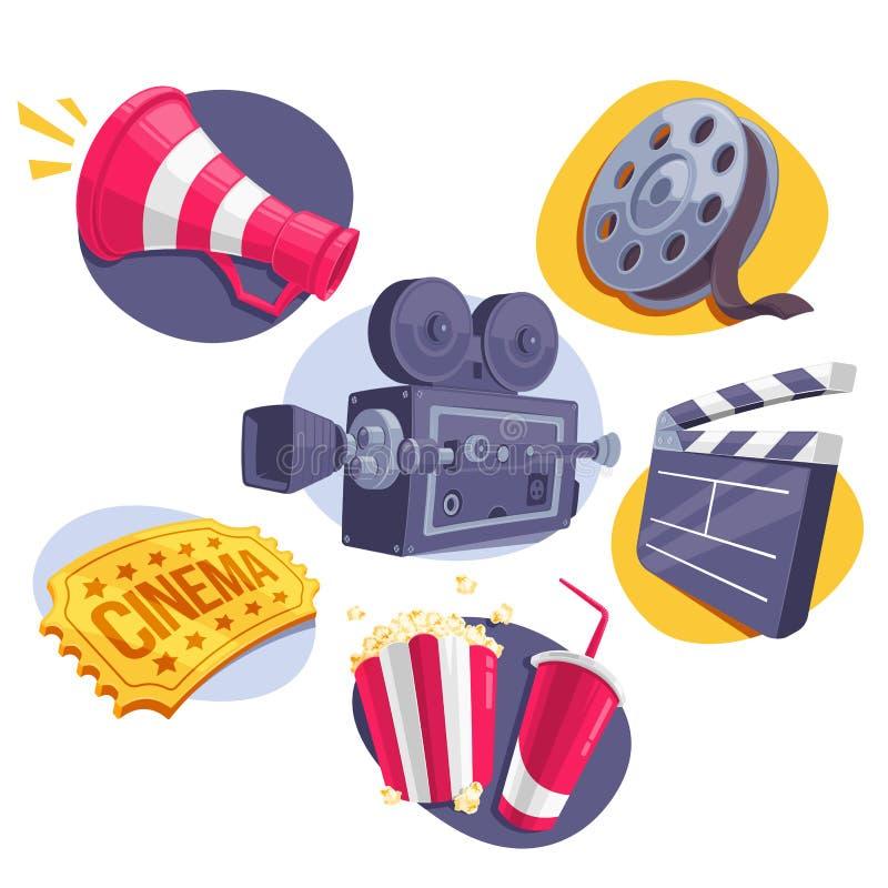 Εικονίδια κινηματογράφων καθορισμένα (Megaphone, εξέλικτρο, κάμερα, εισιτήριο, Clapperboard και γρήγορο φαγητό απεικόνιση αποθεμάτων