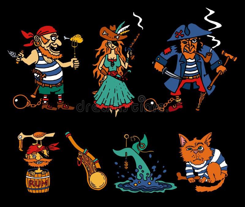 Εικονίδια κινούμενων σχεδίων μύθων πειρατών στο μαύρο υπόβαθρο διανυσματική απεικόνιση