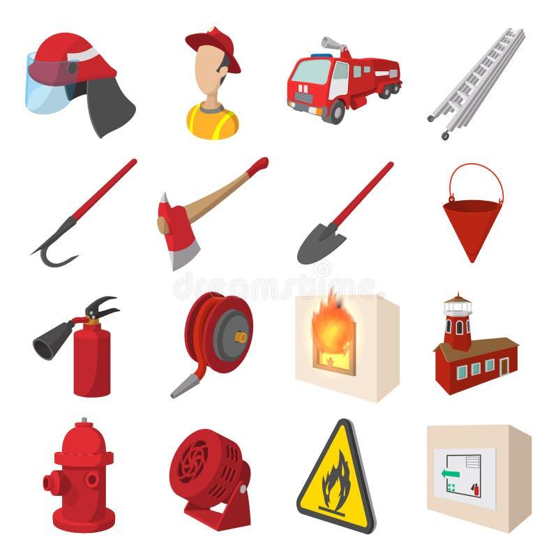 Εικονίδια κινούμενων σχεδίων πυροσβεστών καθορισμένα διανυσματική απεικόνιση