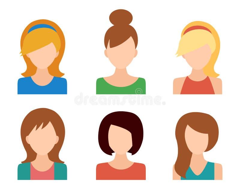 Εικονίδια κοριτσιών καθορισμένα απεικόνιση αποθεμάτων
