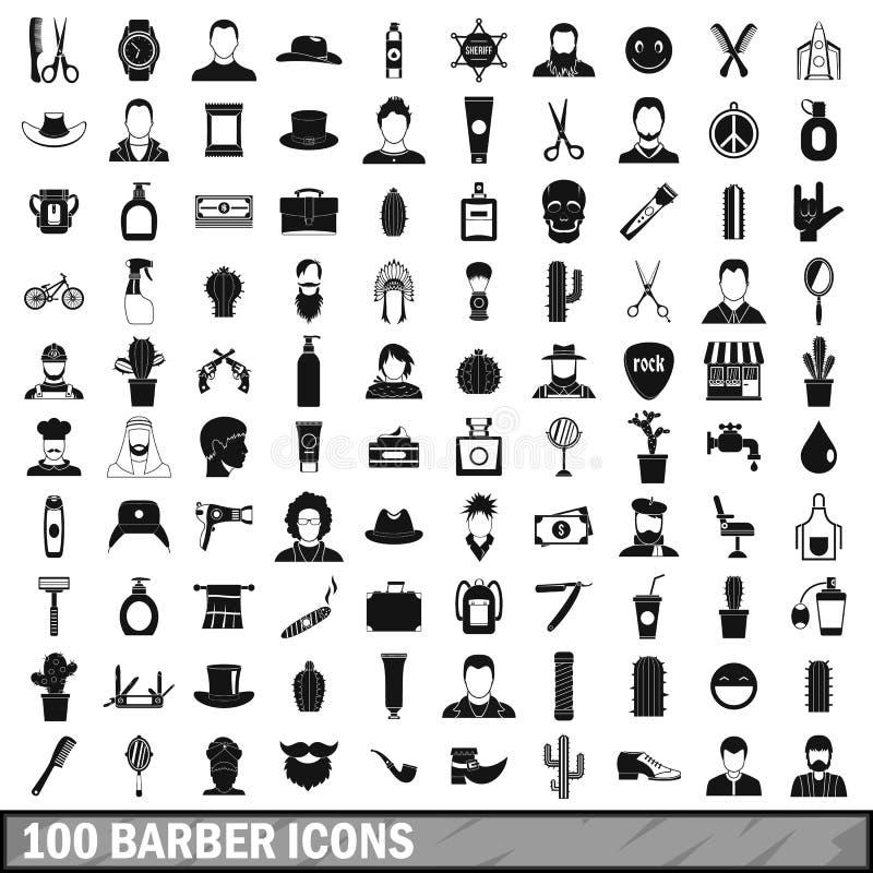 100 εικονίδια κουρέων καθορισμένα, απλό ύφος απεικόνιση αποθεμάτων