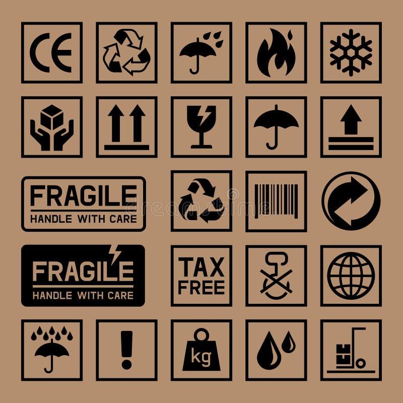 Εικονίδια κουτιών από χαρτόνι χαρτοκιβωτίων διανυσματική απεικόνιση