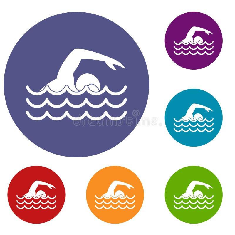 Εικονίδια κολυμβητών καθορισμένα διανυσματική απεικόνιση