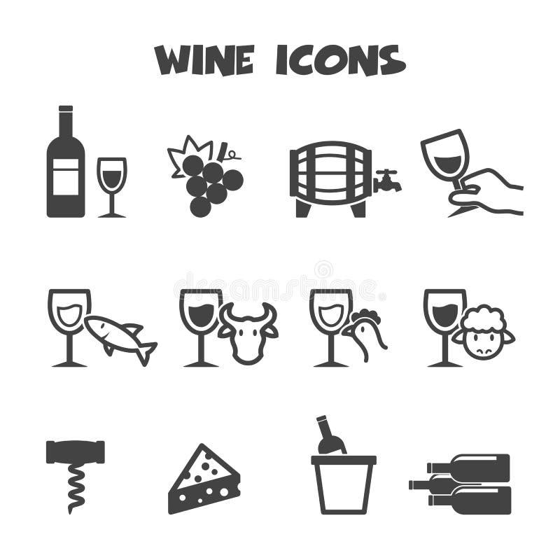 Εικονίδια κρασιού ελεύθερη απεικόνιση δικαιώματος