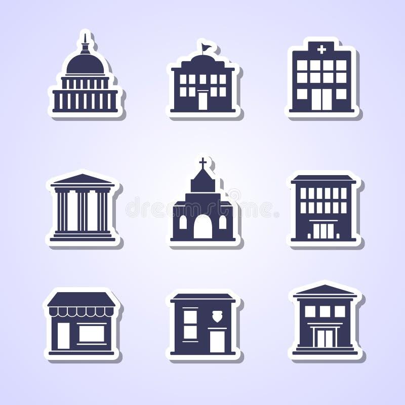 Εικονίδια κυβερνητικής οικοδόμησης απεικόνιση αποθεμάτων