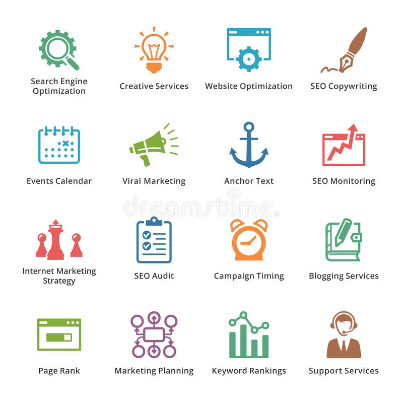 Εικονίδια μάρκετινγκ SEO & Διαδικτύου - σύνολο 5   Χρωματισμένη σειρά ελεύθερη απεικόνιση δικαιώματος