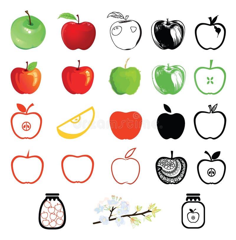 εικονίδια μήλων που τίθενται ελεύθερη απεικόνιση δικαιώματος