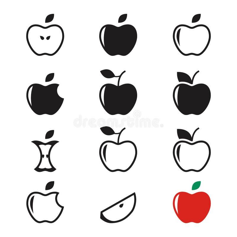 Εικονίδια μήλων διανυσματική απεικόνιση