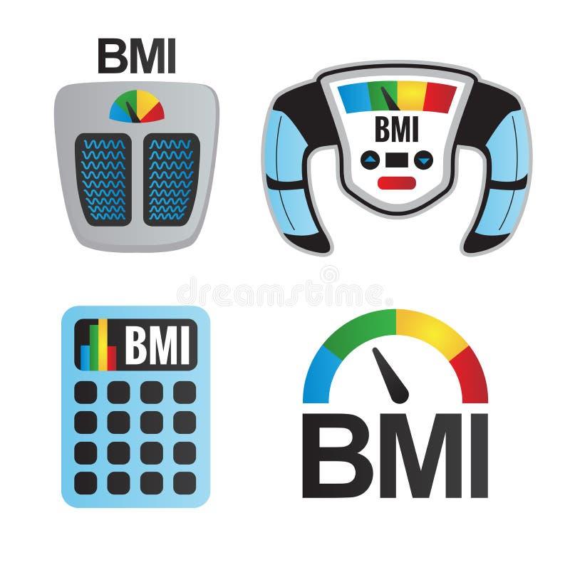 Εικονίδια μαζικών δεικτών BMI ή σώματος ελεύθερη απεικόνιση δικαιώματος