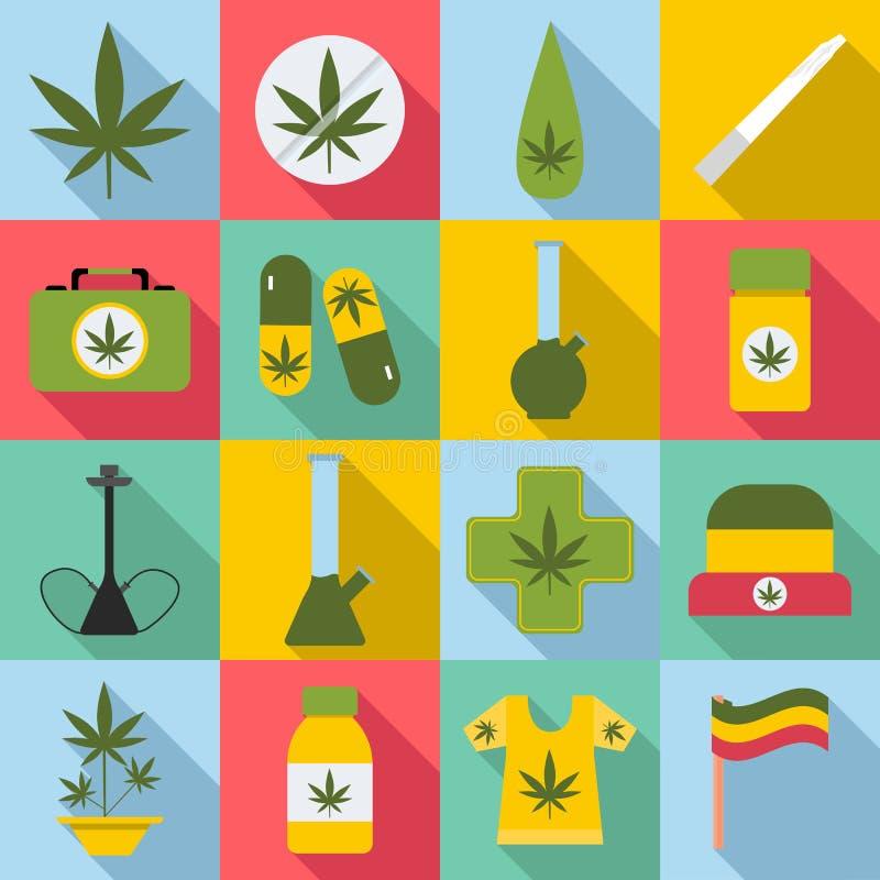 Εικονίδια μαριχουάνα καθορισμένα, επίπεδο ύφος απεικόνιση αποθεμάτων