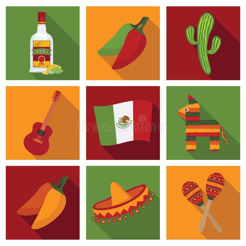 εικονίδια μεξικανός διανυσματική απεικόνιση