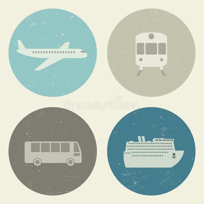 Εικονίδια μεταφορών grunge διανυσματική απεικόνιση