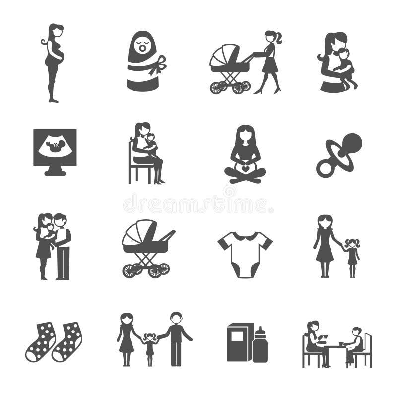 Εικονίδια μητρότητας καθορισμένα απεικόνιση αποθεμάτων