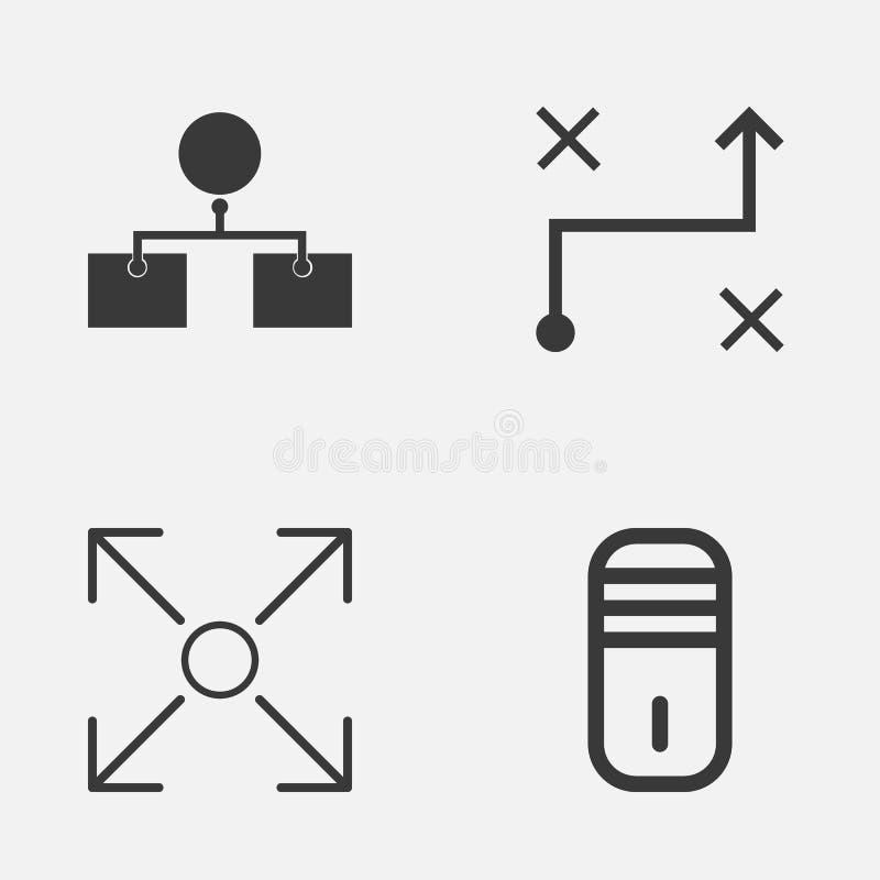 Εικονίδια μηχανών καθορισμένα Συλλογή του διακλαδιμένος προγράμματος, λύση, διάγραμμα ανάλυσης και άλλα στοιχεία Επίσης περιλαμβά διανυσματική απεικόνιση