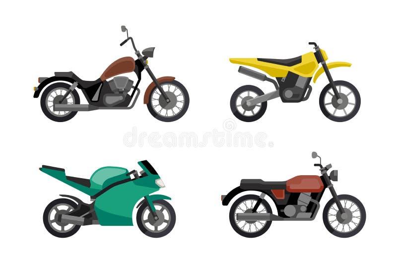 Εικονίδια μοτοσικλετών καθορισμένα ελεύθερη απεικόνιση δικαιώματος