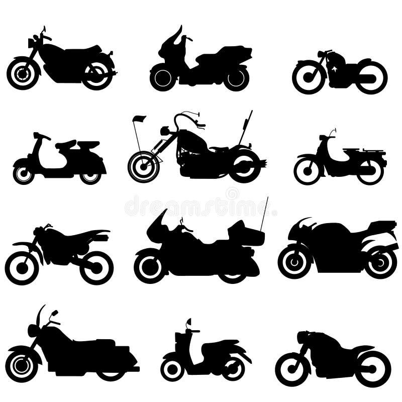 Εικονίδια μοτοσικλετών σκιαγραφιών διανυσματική απεικόνιση