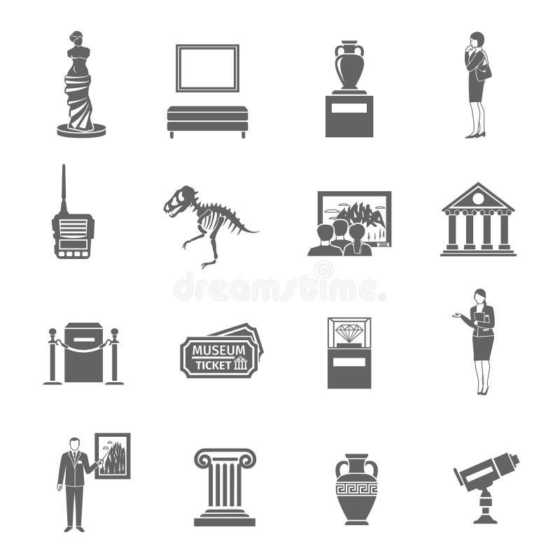 Εικονίδια μουσείων καθορισμένα ελεύθερη απεικόνιση δικαιώματος