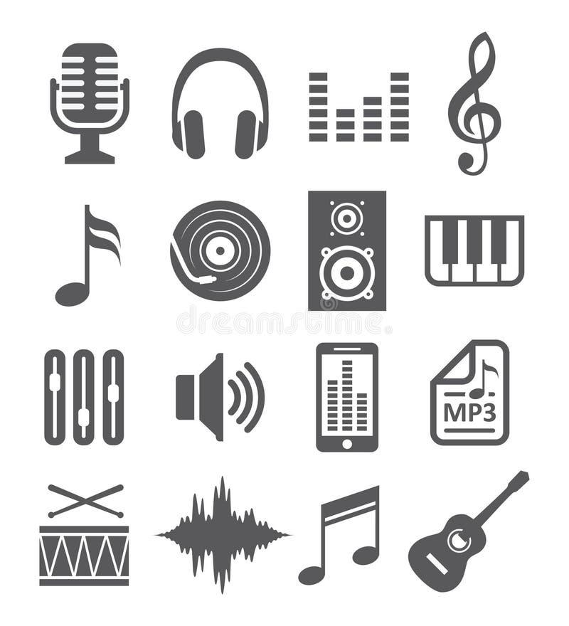 Εικονίδια μουσικής ελεύθερη απεικόνιση δικαιώματος