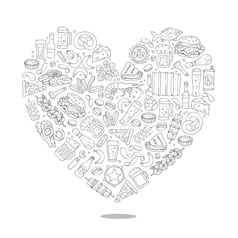 Εικονίδια μπύρας υπό μορφή μεγάλης καρδιάς απεικόνιση αποθεμάτων