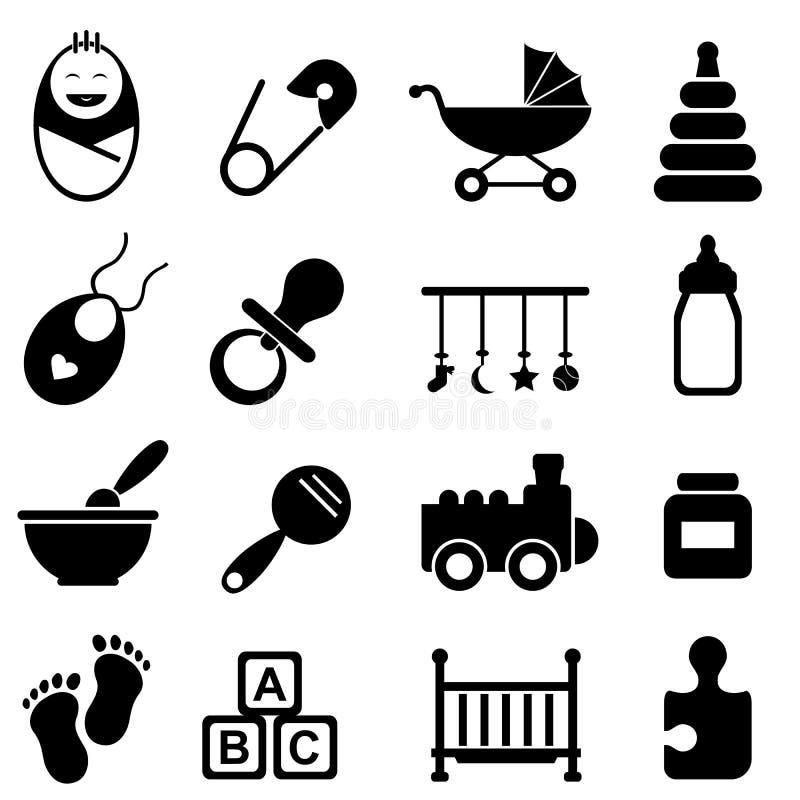 Εικονίδια μωρών και γέννησης διανυσματική απεικόνιση
