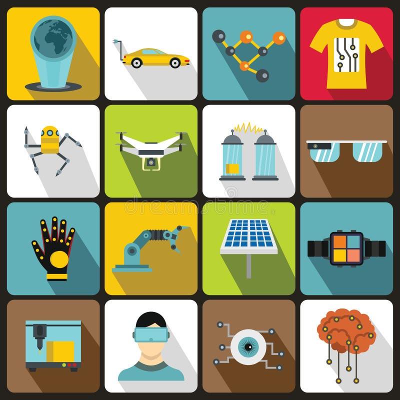 Εικονίδια νέων τεχνολογιών καθορισμένα, επίπεδο ύφος ελεύθερη απεικόνιση δικαιώματος