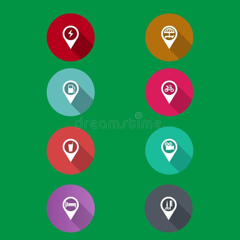 Εικονίδια ναυσιπλοΐας χαρτών διανυσματική απεικόνιση