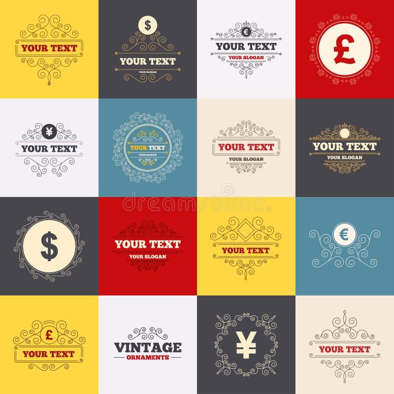 Εικονίδια νομίσματος δολαρίων, ευρώ, λιβρών και γεν διανυσματική απεικόνιση
