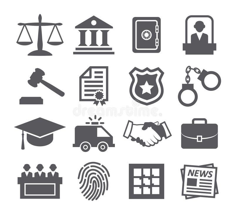 Εικονίδια νόμου διανυσματική απεικόνιση