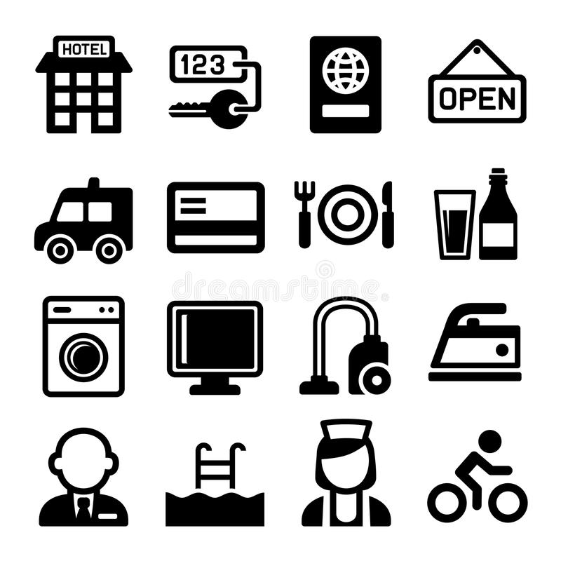 Εικονίδια ξενοδοχείων και υπηρεσιών καθορισμένα διάνυσμα απεικόνιση αποθεμάτων