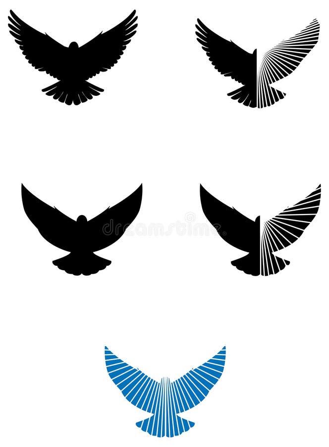 Εικονίδια λογότυπων περιστεριών διανυσματική απεικόνιση